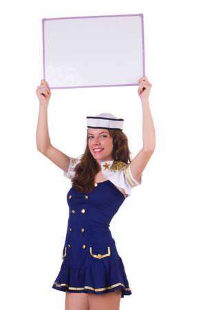 Woman stewardess with blank board Stock Photo - 19131341