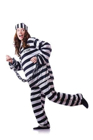 Prisoner in striped uniform on white Stock Photo - 19131364