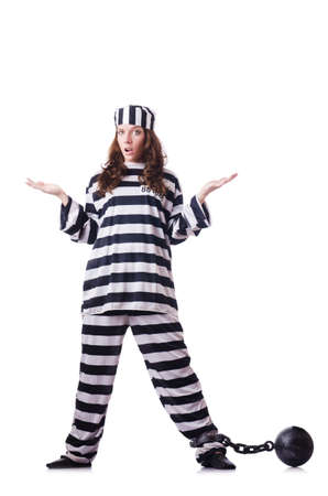 Prisoner in striped uniform on white Stock Photo - 19131317