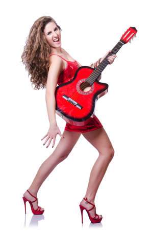afrocut: Guitar player woman isolated on white Stock Photo