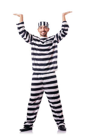 Convict criminal in striped uniform Stock Photo - 19131373