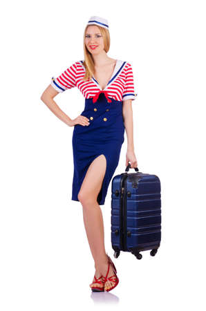 Airhostess with luggage on white Stock Photo - 19131618