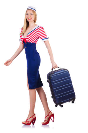Airhostess with luggage on white Stock Photo - 19131718