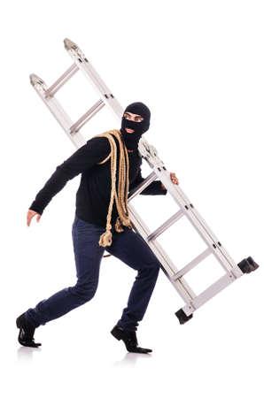 Burglar wearing balaclava isolated on white Stock Photo - 19131666