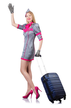 Airhostess with luggage on white Stock Photo - 19131669