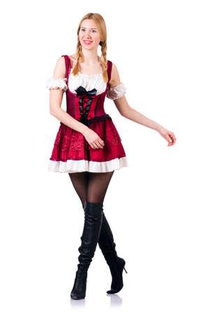 Oktoberfest concept with woman on white Stock Photo - 19142442