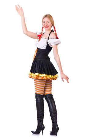 Oktoberfest concept with woman on white Stock Photo - 19142422