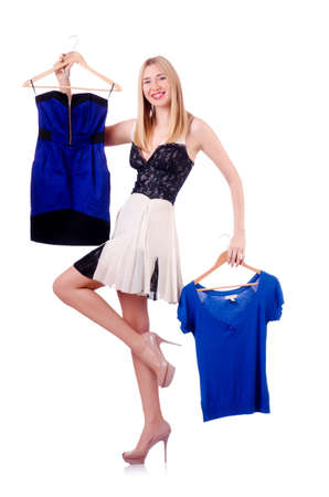 Woman trying new clothing on white Stock Photo - 19142547
