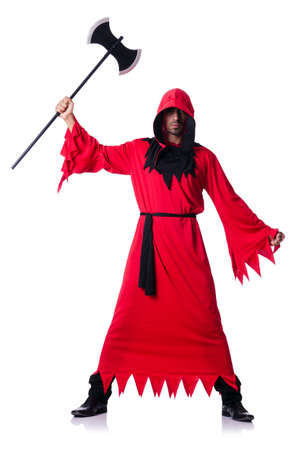 executor: Executioner in red costume with axe on white Stock Photo