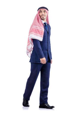 kameez: Arab businessman isolated on the white Stock Photo