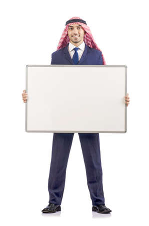Arab man with blank board for message Stock Photo - 19142513