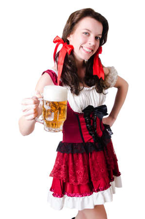 Bavarian girl with tray on white Stock Photo - 19142741
