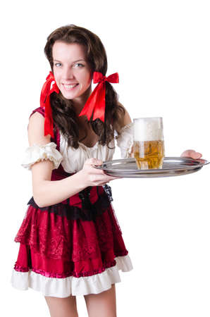 Bavarian girl with tray on white Stock Photo - 19142726