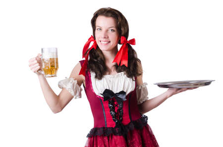 Bavarian girl with tray on white Stock Photo - 19142653