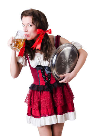 Bavarian girl with tray on white photo
