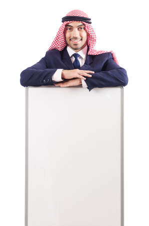 Arab man with blank board for message Stock Photo - 19142627
