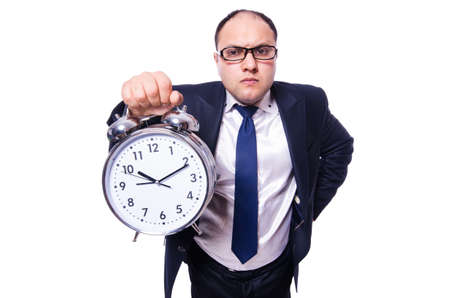 Businessman with clock isolated on white Stock Photo - 19323390