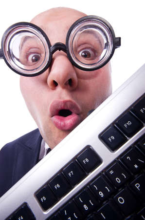 Nerd businessman with computer keyboard on white Stock Photo - 19323714