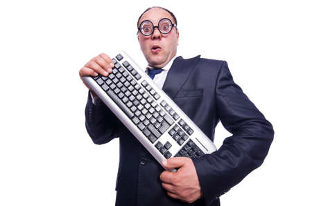 Nerd businessman with computer keyboard on white Stock Photo - 19323497