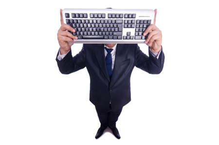 Nerd businessman with computer keyboard on white Stock Photo - 19323214