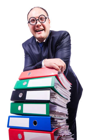 Funny man with lots of folders on white Stock Photo - 19323618