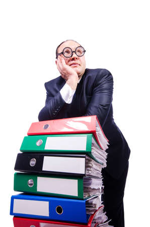 Funny man with lots of folders on white Stock Photo - 19323493
