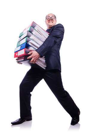 Funny man with lots of folders on white Stock Photo - 19323278