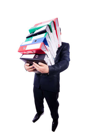 Funny man with lots of folders on white Stock Photo - 19323158