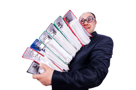 Funny man with lots of folders on white Stock Photo - 19323595