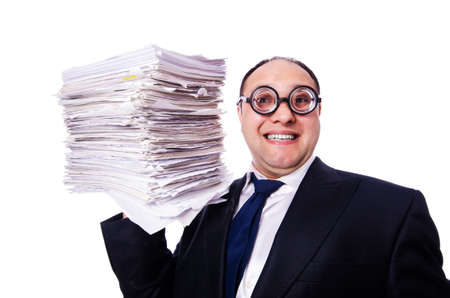 Funny man with lots of folders on white Stock Photo - 19323605