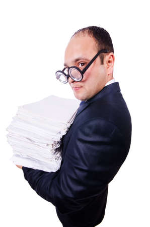 Funny man with lots of folders on white Stock Photo - 19323495