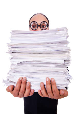 Funny man with lots of folders on white Stock Photo - 19323597