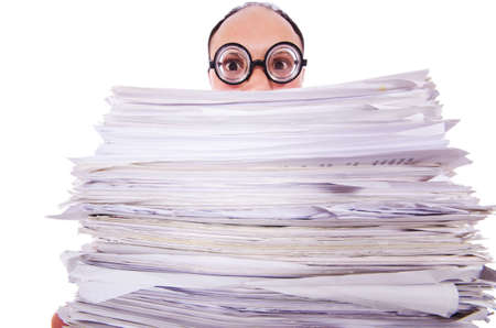 Funny man with lots of folders on white Stock Photo - 19323612