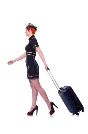 Airhostess with luggage on white Stock Photo - 19511562