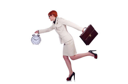 Businesswoman woman with clock on white Stock Photo - 19525287