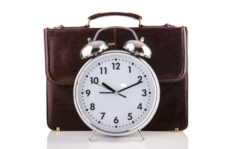 Alarm clock and briefcase isolated on white Stock Photo - 19329015
