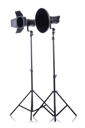 barndoor: Studio light stand isolated on the white