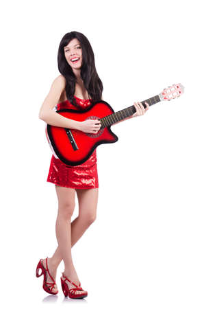 Young singer guitar on white Stock Photo - 19323177