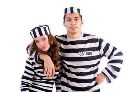 jailbird: Pair of prisoners isolated on white