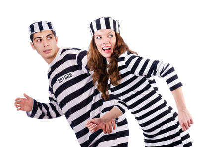 inmates: Pair of prisoners isolated on white
