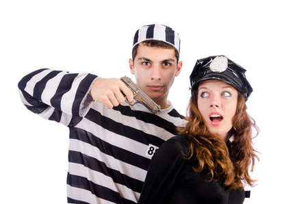 handcuffed: Police and prison inmate on white Stock Photo