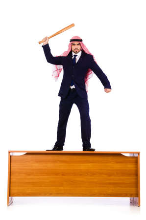 Arab businessman hitting with baseball bat Stock Photo - 19323313
