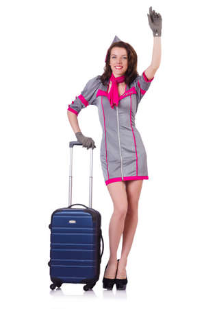 Woman travel attendant with suitcase on white Stock Photo - 19323274