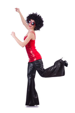 Dancer in black afro wig on white photo