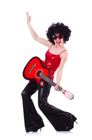 Young singer with afro cut and guitar Stock Photo - 19323230