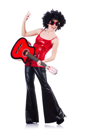 Young singer with afro cut and guitar Stock Photo - 19323346