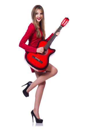 Guitar player woman isolated on white Stock Photo - 20083257