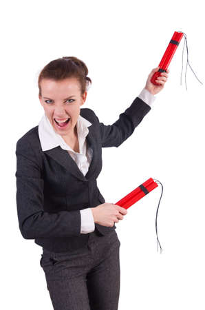 Businesswoman with dynamite on white Stock Photo - 19323503