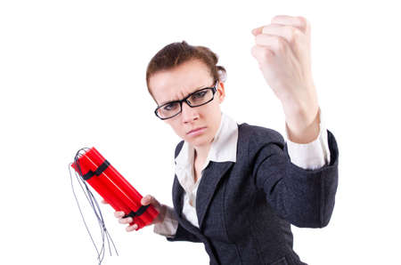 Businesswoman with dynamite on white Stock Photo - 19323501