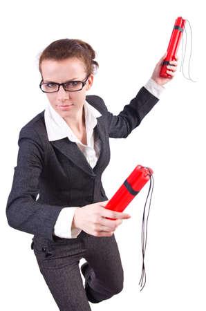 Businesswoman with dynamite on white Stock Photo - 19323614